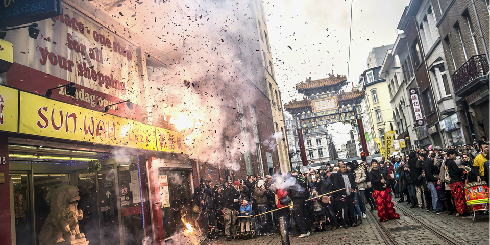 Slotfeest van een project in de Chinese wijk.
