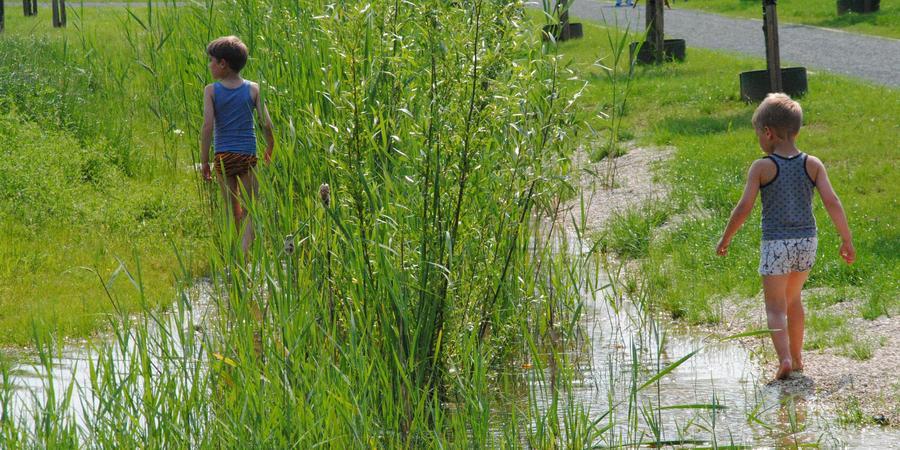 Kinderen spelen in het water in het Hydepark
