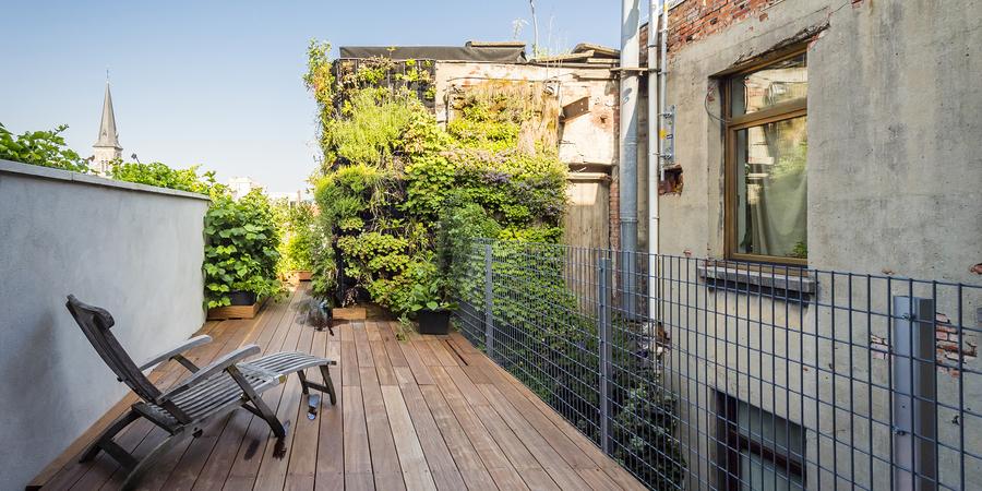 metalen rasters op het terras waar klimplanten kunnen groeien