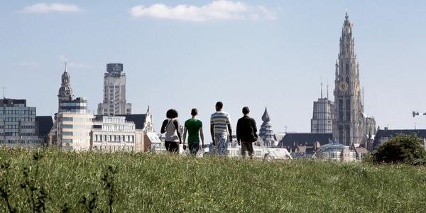 grasvlakte op Linkeroever met zicht op skyline Antwerpen