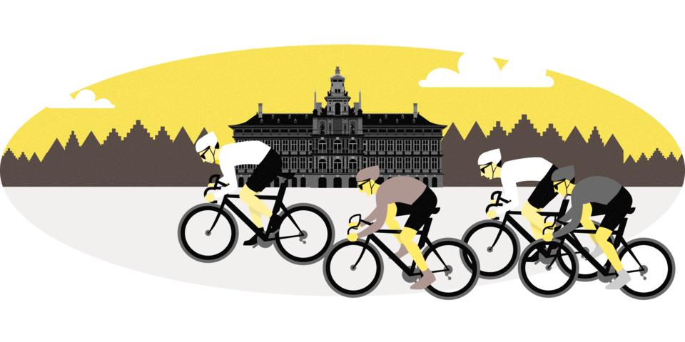 Illustratie van wielrenners voor het stadhuis van Antwerpen
