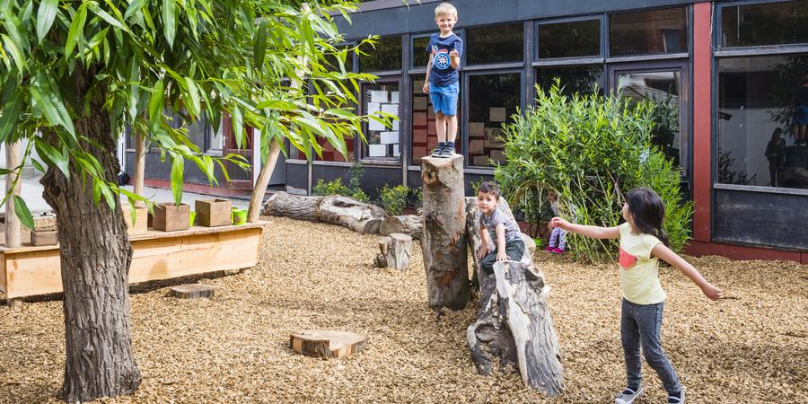 Natuurspeelplaats van Leefschool Toverbol met houtsnippers als ondergrond