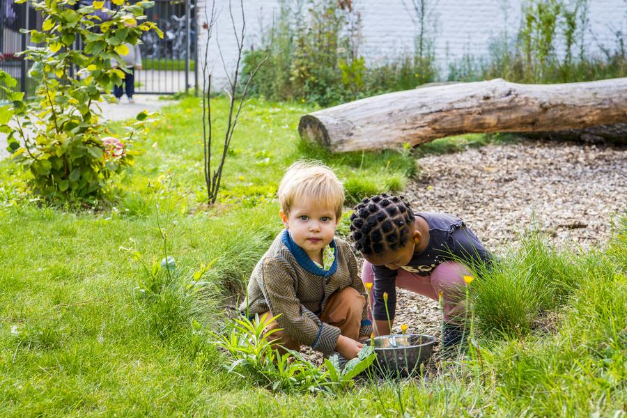 Kinderen spelen met houtsnippers