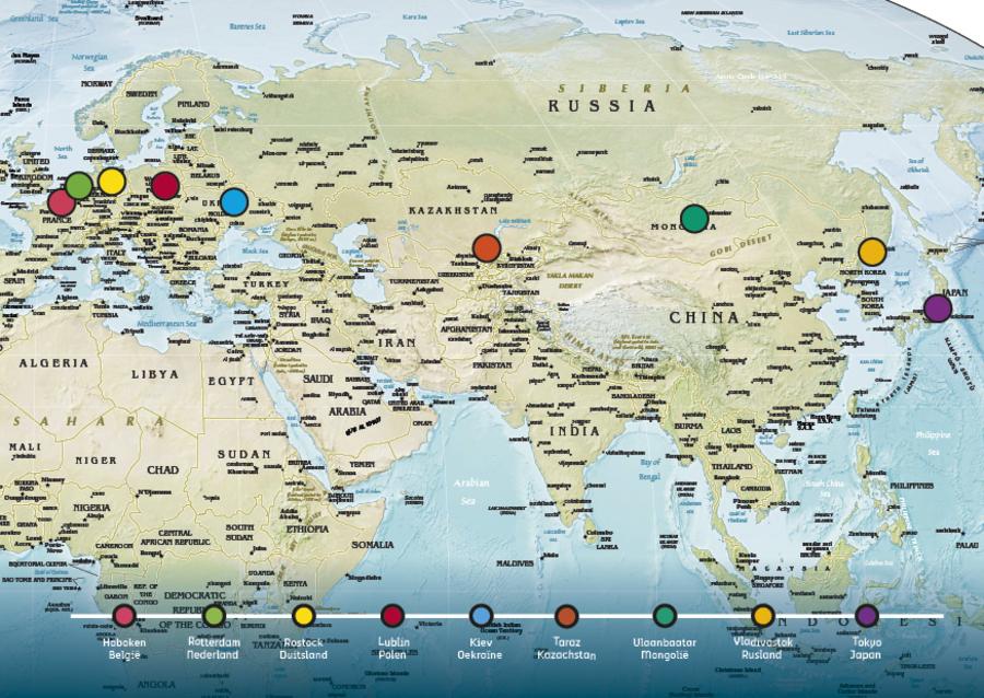 Wereldkaart met aangeduide steden