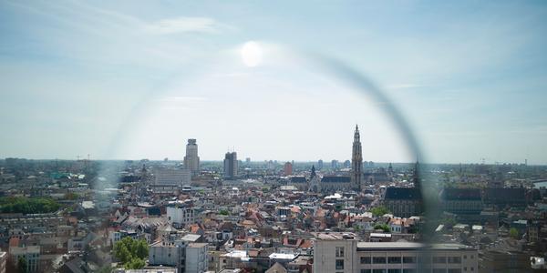Overzichtsfoto van stad Antwerpen, getrokken vanuit het MAS