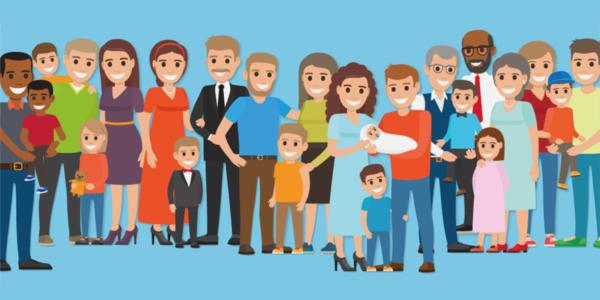 Een illustratie van een groep mensen die rond een jong gezin staan.