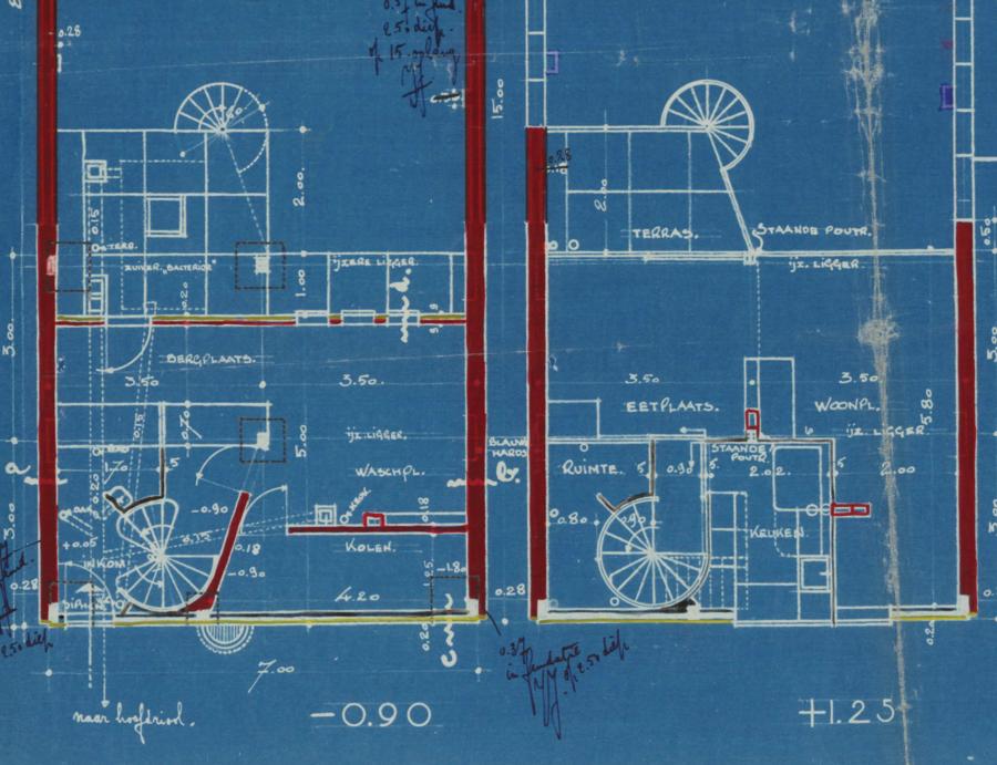 Plattegrond kelder en gelijkvloers ontworpen door de architect Jan Jaak Jacobs