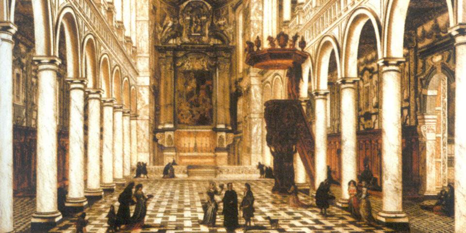 'Het interieur van de Jezuïetenkerk', Willem Schubart van Ehrenberg, 17e eeuw