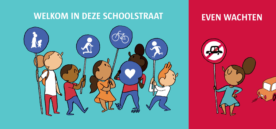 illustratie schoolstraat