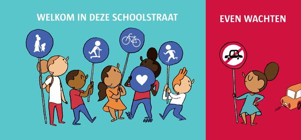 illustratie schoolstraat