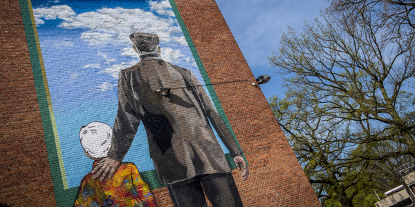 'A Shared Glance' op de gemeenschappelijke muur van Bibliotheek Park en de Academie voor beeldende kunsten.