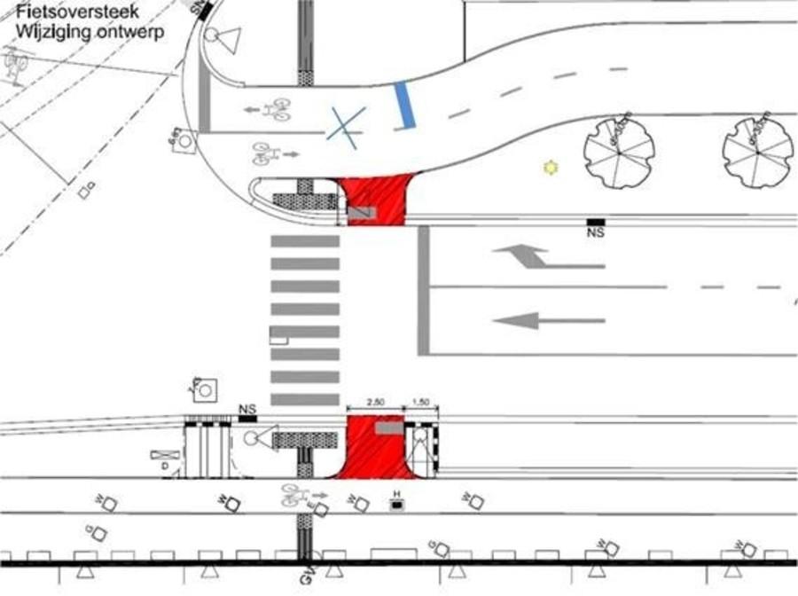 conflictvrije aangepaste oversteek fietsers