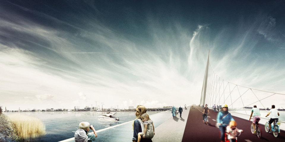 Voorstel voor een fiets- en voetgangersbrug over de Schelde door Team West - Over de RIng.
