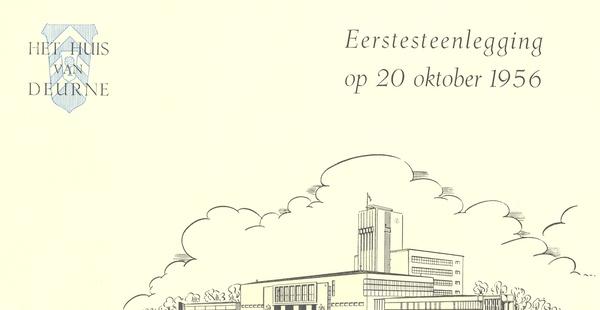 Uitnodigingskaart voor de eerstesteenlegging van het districtshuis in 1956