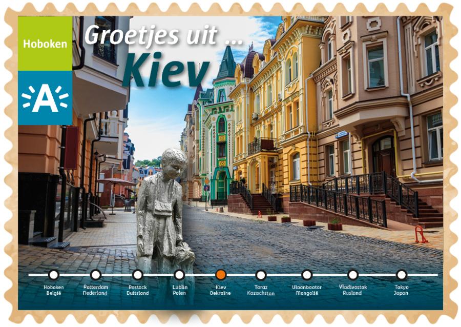Groeten uit-kaart uit Kiev met Nello en Patrasche op de voorgrond