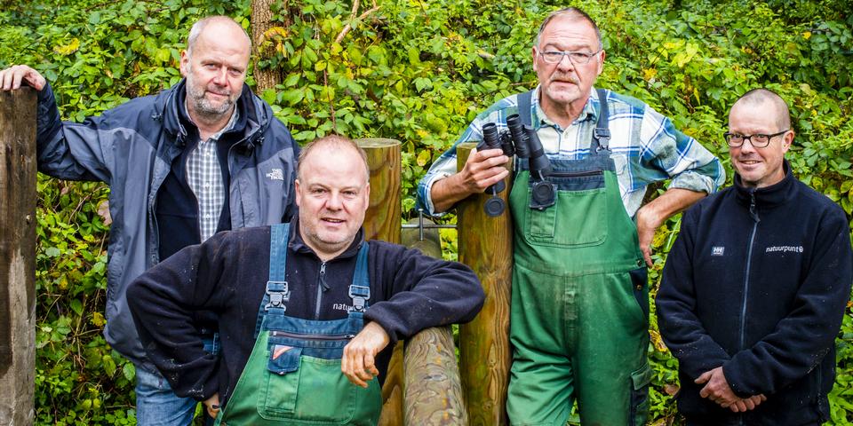 Vier vrijwilligers in de natuursector.