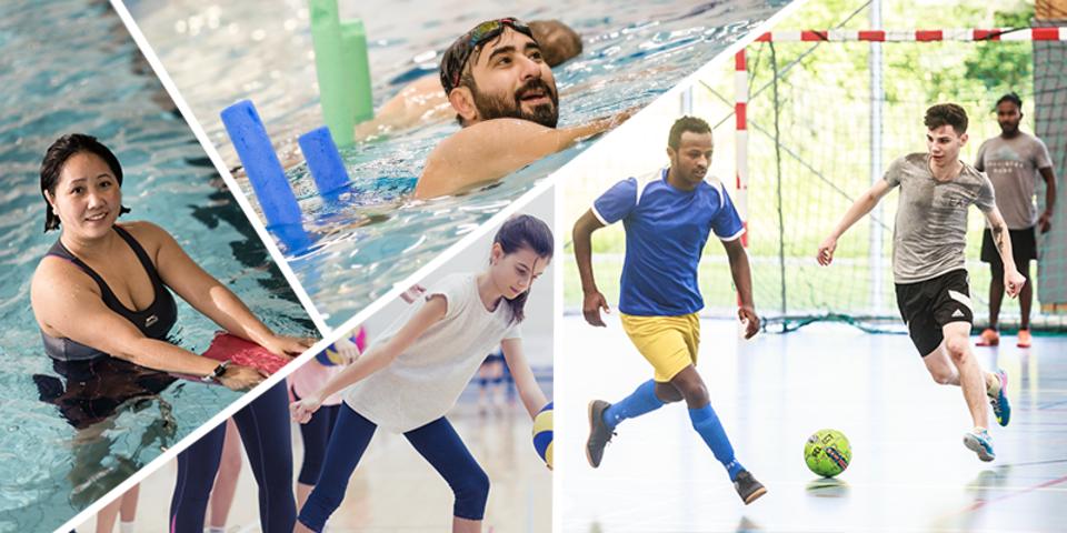 Fotocollage van Buurtsportactiviteiten waaronder zaalvoetbal, zwemlessen en volleybal