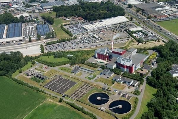 Luchtfoto bedrijventerrein Terbekehof in Wilrijk.