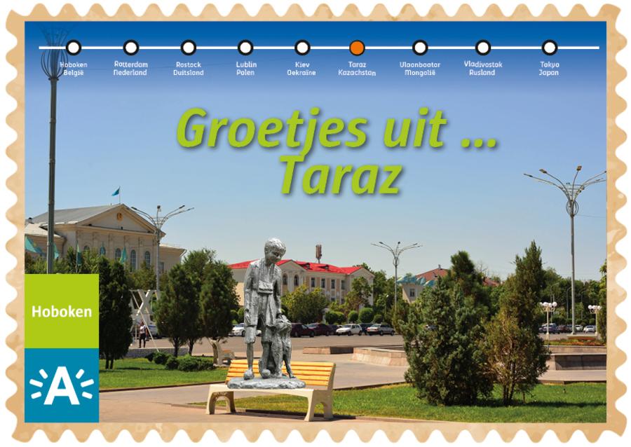 Groeten uit-kaart uit Taraz met Nello en Patrasche op een bankje