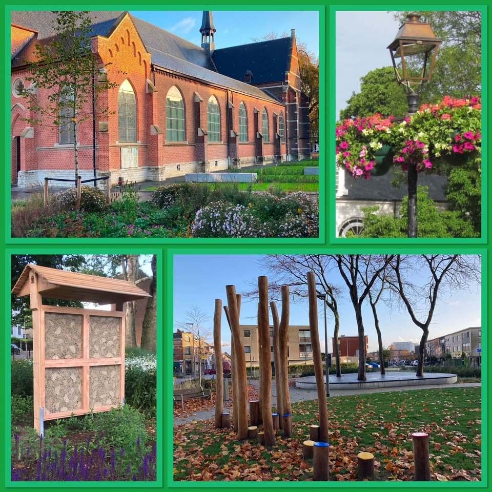 Fotocollage van groenprojecten in Hoboken