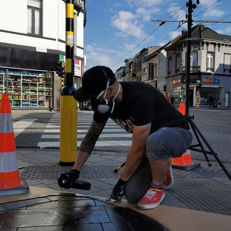 Streetartcollectief Puncheur maakt graffitikunstwerk