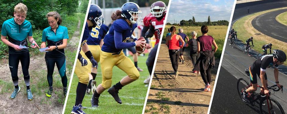 Foto's van: oriëntatielopers, american footballers, wandelaars, wielerpisterijders