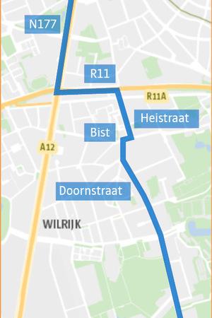Een grafische weergave van het WK-parcours dat loopt langs de N177, de R11, de Heistraat, de Bist en de Doornstraat.