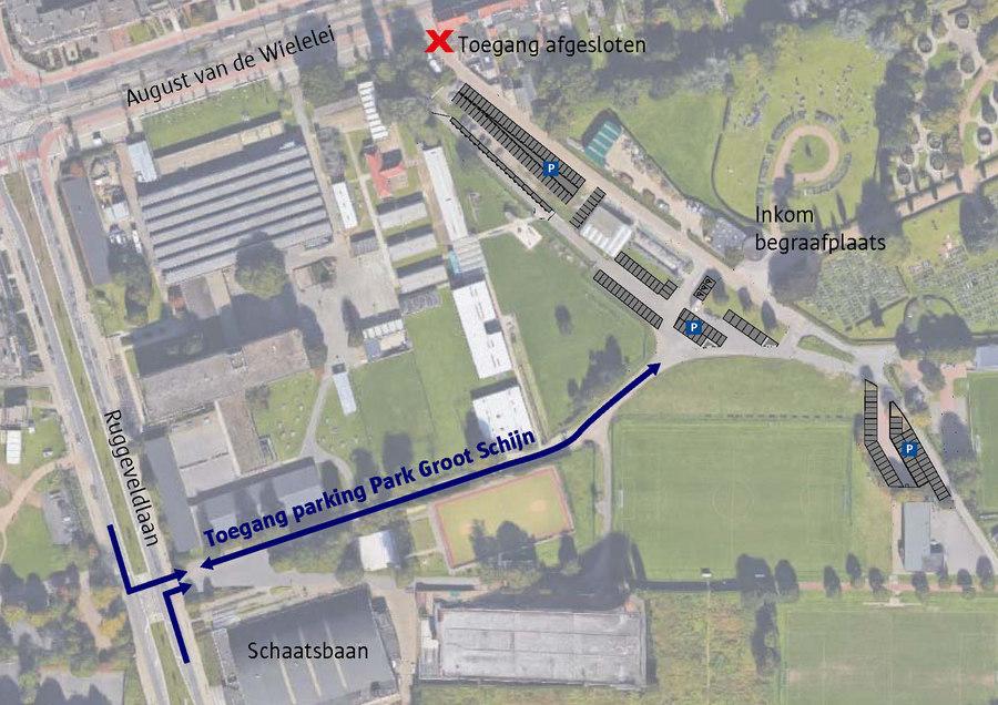 Toegang parking Park Groot Schijn en de begraafplaats Ruggeveld