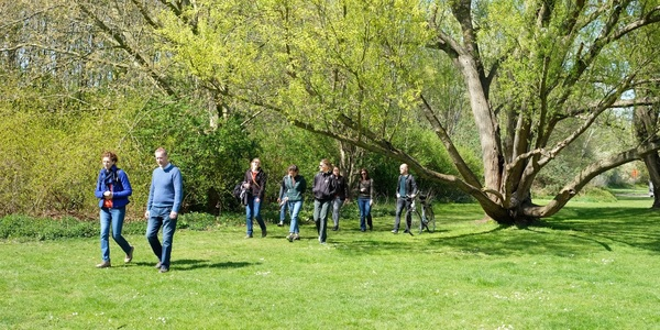Groep wandelaars op het gras in een park