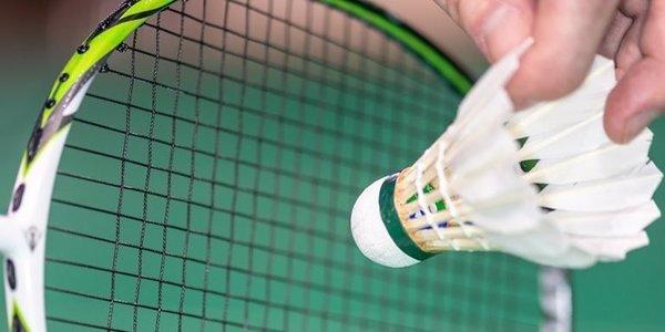 Badmintonracket en een pluimpje