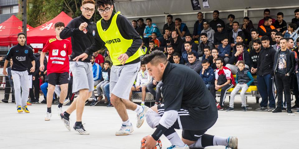 Voetballers in actie