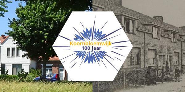 Een college van een actuele foto van de Koornbloemwijk en een oude foto van een straat uit de tuinwijk met in het midden het logo van het feestjaar.