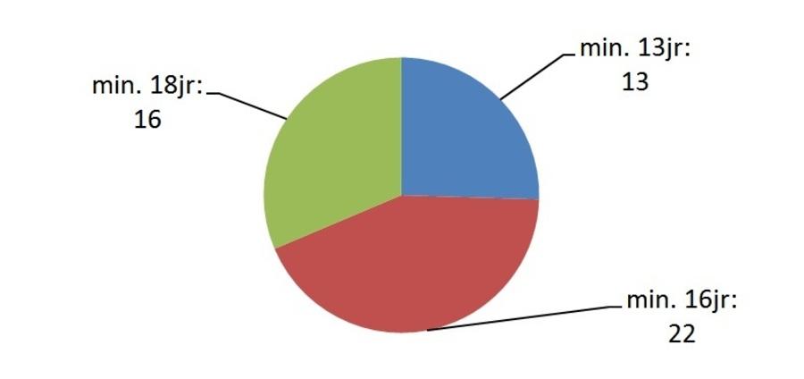 Taartdiagram met resultaat. minimum 18 jaar: 16; minimum 16 jaar: 22; minimum 13 jaar: 13