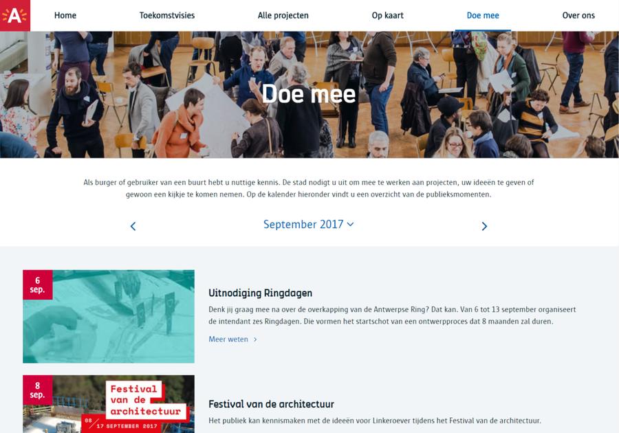 De 'doe mee-kalender' van Antwerpen Morgen voor de maand september, met onder meer de aankondiging van de Ringdagen.