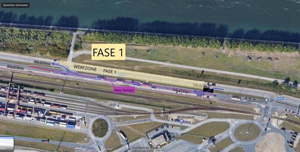 Plan overzicht werken kruispunt Scheldelaan ter hoogte van BASF parking noord