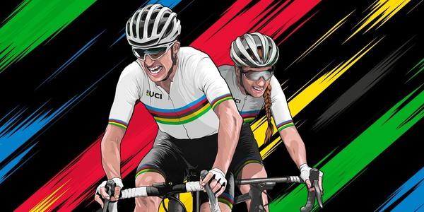 Een grafisch beeld van een wielrenner en wielrenster in de regenboogkleuren
