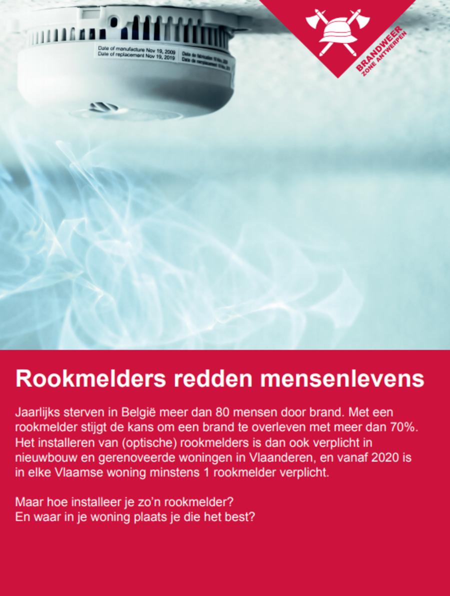 De voorpagina van de folder 'Rookmelders redden mensenlevens'